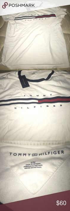 Tommy Hilfiger Stripe Tee Like new with tags. Size Large but fits like a Med Tommy Hilfiger Shirts Tees - Short Sleeve