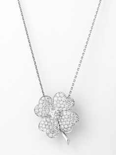 Van Cleef & Arpels 18K White Gold Diamond Small Cosmos Pendant at London Jewelers!