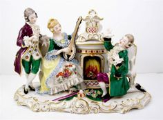 """Vintage Dresden Lace Style Musician Parlor Grouping 11 1 2 x 7 1 2"""" 1949 CA 1964   eBay"""