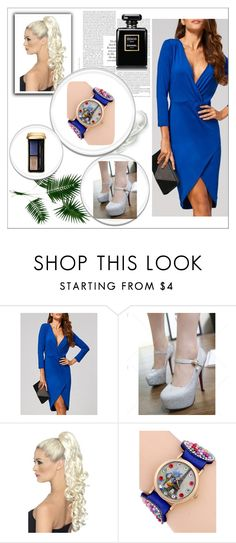 """""""Fall in love with blue 13"""" by m-sisic ❤ liked on Polyvore featuring Guerlain, bluedress, higheels and wristwatch"""