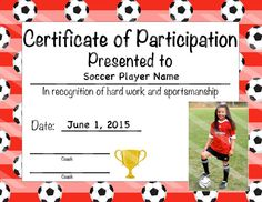 Soccer Certificate Of Participation   Soccer Award   Print At Home   Soccer  MVP   Soccer Certificate Of Completion   Sports Award