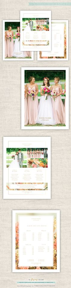 Photographer Price List - Pricing Guide Template - Marketing - wedding price list
