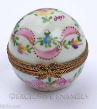 Limoges Dubarry Vintage Hand Painted Perfume Globe Hinged China Trinket Box