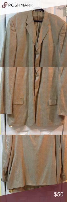 Ralph Lauren Sz 44R Beige Blazer Jacket Sportcoat Silk Wool Mens ...