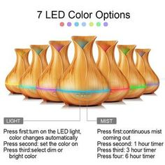 Aroma Essential Oil Diffuser Ultrasonic Air Humidifier with Wood Grain 7 Color Changing LED Lights. Click visit to buy Best Oil Diffuser, Best Essential Oil Diffuser, Humidifier Essential Oils, Aroma Essential Oil, Essential Oil Bottles, Aroma Diffuser, Home Office Lamps, Air Humidifier, Led Night Light