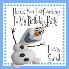 Disney Frozen Square Favor Stickers - Disney Frozen Birthday Party - Olaf on Etsy, $5.00