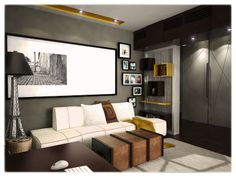 Multifunctional space- living, dinning and office 3 in Old Building, One Bedroom, Small Apartments, Multifunctional, Couch, Space, Modern, Furniture, Design