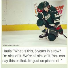 Haula is many of us right now.  He was the very last member of the team to leave the ice last night and his emotions were clear. I hope he turns this into motivation to be even better next season. #erikhaula #minnesotawild #mnwild #stateofhockey