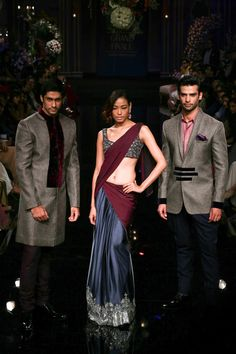 Manish Maholtra Grand Finale Blue & Burgundy Embellished #Saree At Lakme Fashion Week 2014.