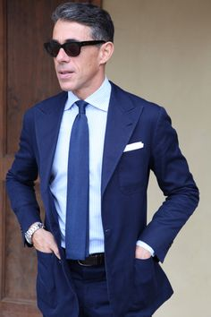 Perfection In Blue men style suit tie sunglasses rolex submariner