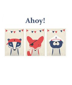 Retro pirate posters, A4 set, nautical animals, vintage art print, wall decor…