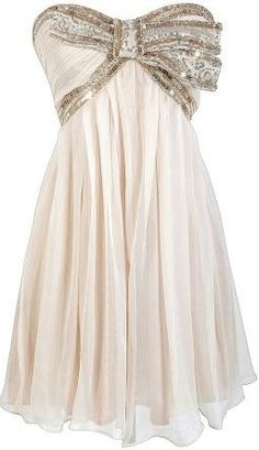 Cream and Gold Sequin Bow Chiffon Designer Dress by Minuet♥✤ | Keep the Glamour | BeStayBeautiful