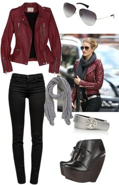 TIGHA Juris Burgundy // Red leather bomber-jacket ($335) ❤ liked ...