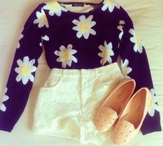 Daisy sweater with high waisted shorts, and cute studded flats.