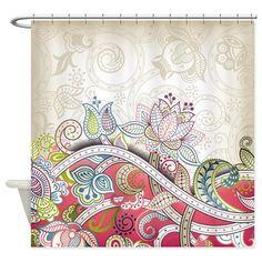 Vintage Floral Pattern Shower Curtain by Daecu - CafePress Vintage Shower Curtains, Custom Shower Curtains, Fabric Shower Curtains, Design Page, Art Design, Graphic Design Art, Motif Floral, Floral Prints, Floral Patterns