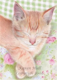https://flic.kr/p/6m5GbN | Shabby Chic Cat | ACEO / miniature art (2.5 x 3.5 inches) of a gorgeous ginger cat have a leisurely nap on a shabby chic chair, which was done in coloured pencils on drafting film. Reference photo for the cat was taken by Chrisrauh www.flickr.com/photos/chrisrauh/2674216640/in/set-7215760... (flickr creative commons) and was used with his kind permission.