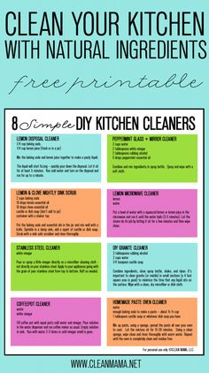 [orginial_title] – Erica Darby 8 Simple DIY Kitchen Cleaners + FREE Printable 8 Simple DIY Cleaners – Clean Your Kitchen with Natural Ingredients – Free Printable via Clean Mama Deep Cleaning Tips, House Cleaning Tips, Cleaning Hacks, Green Cleaning, Cleaning Routines, Hacks Diy, Cleaning Supplies, Cleaners Homemade, Diy Cleaners