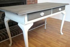 Love the grey and white with white hardware. And it's chalkboard paint (Anne Sloan).