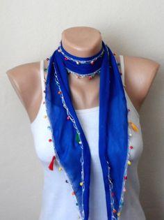 royal blue scarf  beads cotton scarf yemeni scarf trendy scarf