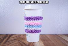 Bigender Pride Flag Crochet Coffee Cozy by familycraftstudio