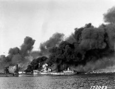 Fires still burning in Bari harbour after the devastating attack on the evening of 2nd December.