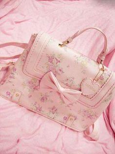 Pink floral bow satchel purse.