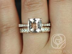 Taylor 9mm & Cordelia 14kt Rose Gold Cushion Morganite and Diamonds Cathedral Wedding Set ( Other Metal and Stone Options Available)