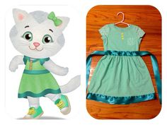 Easy Katerina Kittycat dress for your little Daniel Tiger's Neighborhood fan! Take a basic turquoise short-sleeve dress (this one is from Carter's), add yellow buttons, and adorn with ribbon. Add white cat accessories and you have a costume! Daniel Tiger Costume, Daniel Tiger Party, Daniel Tiger Birthday, Tiger Halloween Costume, Halloween Cat, Halloween Costumes For Kids, Halloween Themes, Halloween 2017, Cute Costumes