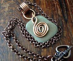 Unique drilled river rock pendant necklace by TheBeadedArmadillo