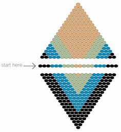 Diamond Pendant - How Did You Make This?   Start at the widest part of the design – in this case the center row. Make the foundation row following the pattern (3 black, 3 blue, 3 green, 2 cream, 3 green, 3 blue, 3 black.) BRICK STITCH