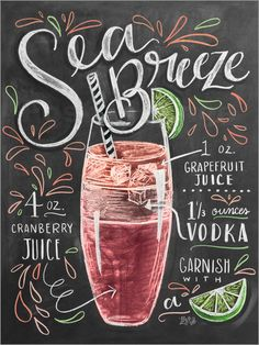 Lily & Val - Sea Breeze Rezept (Englisch) Lily & Val Meeresbriese posters at Posterlounge ✔ Free shi Summer Drinks, Cocktail Drinks, Alcoholic Drinks, Beverages, Pink Cocktails, Sea Breeze Recipe, Lily And Val, Cranberry Vodka, Cocktail Recipes