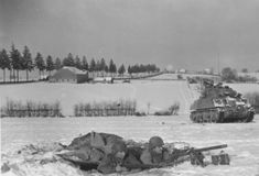 M4A3 Sherman of 4th Armored Division driving on Bastogne January 3, 1945