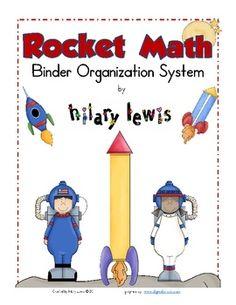 FREE Rocket Math Binder Organization Labels by Rockin Teacher Materials by Hilary Lewis Organizing Labels, Binder Organization, Classroom Organization, Math Resources, Math Activities, Rocket Math, Math Binder, Binder Labels, Math Classroom
