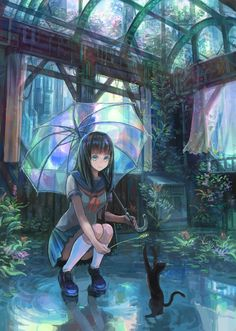 "Tags:     ""black hair"" ""blue eyes"" ""flower"" ""long hair"" ""neko"" ""rain"" ""seifuku"" ""smile"" ""umbrella""  Artist:     ""Denki"""