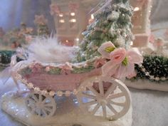 shabby pink victorian christmas village wagon tree chic roses glitter
