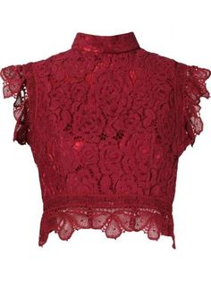 Bordeaux silk and cotton blend crop lace blouse from Martha Medeiros featuring a high standing collar and a back zip fastening. Crop Top Shirts, Crop Blouse, Crop Shirt, Men Shirt, Lace Shirts, Blue Blouse, Lacy Tops, Lace Crop Tops, Cropped Tops