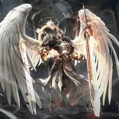 The Warrior In The Bible More Powerful Than All The Archangels Fantasy Warrior, Warrior Angel, Fantasy Sword, Dark Fantasy Art, Fantasy Artwork, Fantasy Images, Fantasy Character Design, Character Art, Epic Art