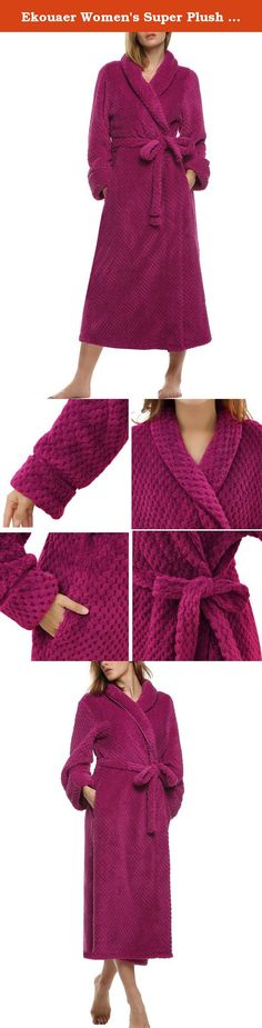 Ekouaer Women's Super Plush Microfiber Fleece Bathrobe Robe, Rose Red, Medium. Specifications: Women's long haired microfleece bathrobe from Ekouaer. Super plush microfleece fabric is extremely soft and lightweight, yet has a high insulating ability. This bathrobe features wrap around waist tie and double belt loops for a custom fit. Two side pockets and water absorbancy make this robe both stylish and practical. Inactive dyes used (chemical free) in production of this robe. 2 Sizes...