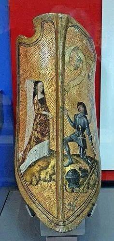 Medieval era parade shield, Flanders or Burgundy, 15th century