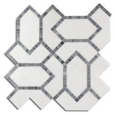 White Thassos + Grey Marble Waterjet Mosaic Tile – TileBuys