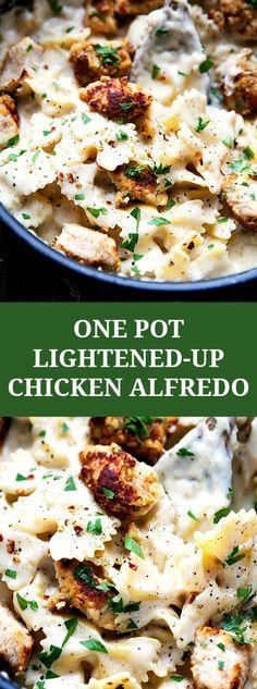 ONE POT lighter chicken alfredo pasta with chicken