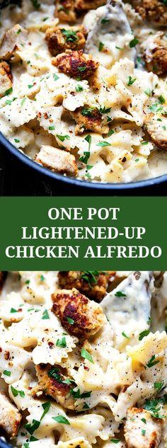 ONE POT lighter chicken alfredo pasta with chicken: