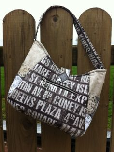 My new bag design - The Gatsby - made using Tim Holtz fabrics from his Eclectic Elements range.