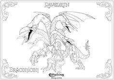 Draconicon van Raveleijn. Efteling kleurplaat.