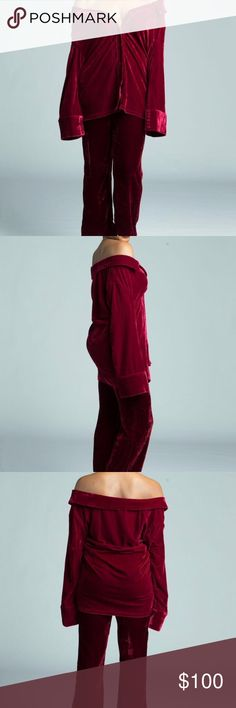 Two Piece Crushed Velvet Set Velvet set top and bottoms sexy off the shoulder top and high waist pants Pants Ankle & Cropped