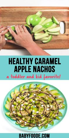 Caramel Apple Nachos - a fun and healthy fall treat that your kids will love! Made with a naturally sweetened caramel sauce, these apple nachos are quick and easy to make and so much fun to eat! #toddler #kidfriendly #healthy #snack #noaddedsugar Healthy Store Bought Snacks, Apple Nachos, Vegetarian Nachos, Fruit Nutrition, Dairy Free Snacks, Freeze Dried Fruit, On The Go Snacks, Toddler Snacks, Fall Treats