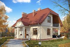 projekt Trzemeszno DM-6214 KRF2007 House Floor Plans, Home Fashion, Shed, Exterior, Outdoor Structures, Cabin, Flooring, Architecture, House Styles