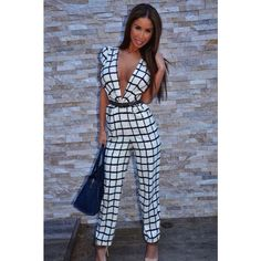 sexy jumpsuit women 2014 clubwear bodycon rompers womens jumpsuit long pants Deep V Belted Grid Jumpsuit Sexy Jeans, Rompers Women, Jumpsuits For Women, Jumpsuit Casual, Summer Jumpsuit, Jumpsuit Dress, Bodysuit, Jumpsuit Pattern, Jumpsuit With Sleeves