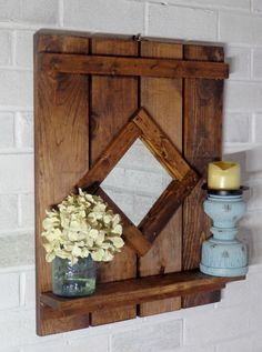 Diamond Shaped Reclaimed Wood Mirror wth shelf- Stained