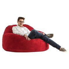 Chillum Cloud 9 Bean Bag Chair Comfort Suede - Sierra Red - Big Joe, Terracotta